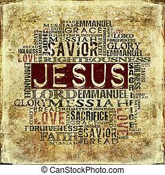 vallásos, háttér, jézus
