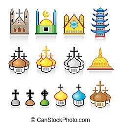 vallásos, halánték, elhelyez, imádás