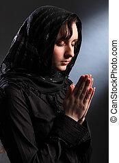 vallásos, woman elmélkedik, alatt, lelki, imádás