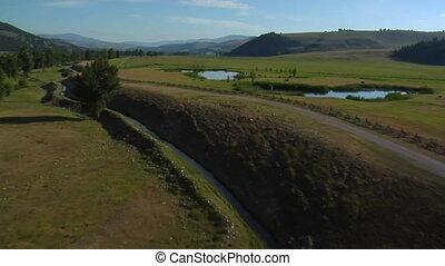 vallée, aérien, lacs, coups, bétail