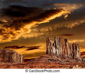 vallée, coucher soleil, cieux, monument