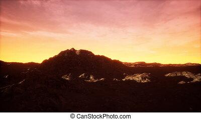 vallée, coucher soleil, rocheux
