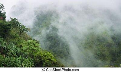 vallée, métrage, montagnes, nuages, couverture, exotique, 4k...