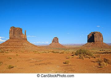 vallée monument, à, ciel bleu