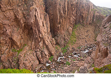 vallée rivière, deeply, entre, rochers, scandinavie
