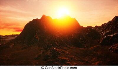 vallée, rocheux, coucher soleil
