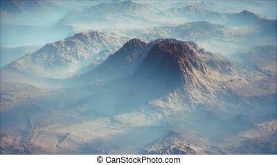 vallées, brouillard, gamme, couche, lointain, mince, montagne