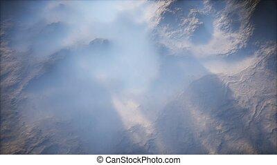 vallées, gamme, montagne, brouillard, mince, couche, lointain