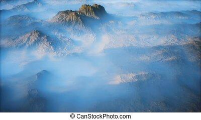 vallées, lointain, brouillard, montagne, mince, couche, gamme