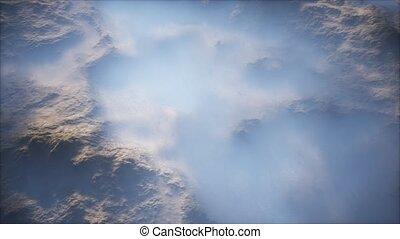 vallées, lointain, couche, gamme, mince, montagne, brouillard