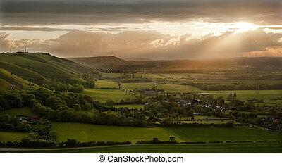 vallées, nuages, collines, campagne, rayons, haut, côté, ...