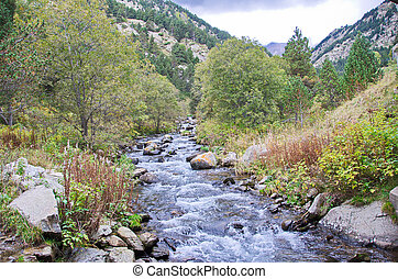 Vall de Nuria  in the Pyrenees Mountains in Catalonia, Spain