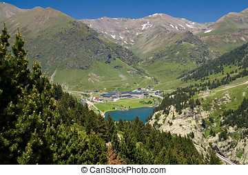 Vall de Nuria Sanctuary in the catalan pyrennes, Spain