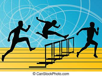 valla, barrera, hombres, siluetas, ilustración, corriente, vector, colección, plano de fondo, activo, atletismo, deporte