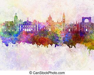Valladolid skyline in watercolor