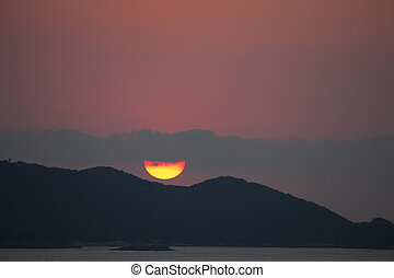 vallarta, puerto, coucher soleil, mexique