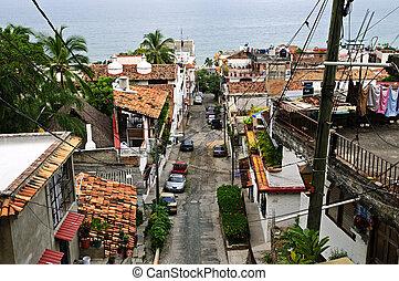 vallarta, város utca, puerto, mexikó