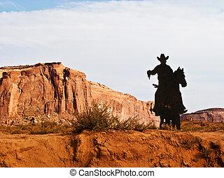 valle, caballo, monumento, silueta, vaquero