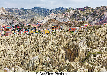 Valle de la Luna in La Paz, Bolivia. Unusual natural ...