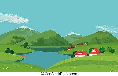 valle de montaña, paisaje