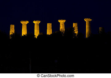Dorian columns of Temple of Hercules in Agrigento Valley. Sicily, Italy