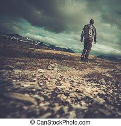 valle, escursionista, camminare