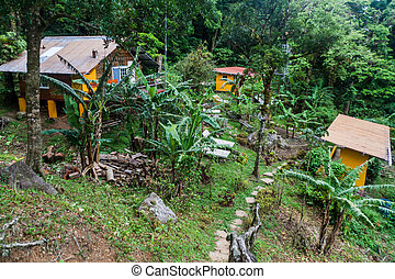 VALLE HORNITO, PANAMA - MAY 23, 2016: View of Lost and Found Jungle Hostel in Pana
