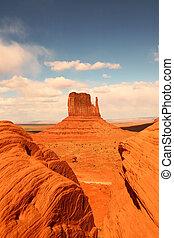 valle, monumento, verticale, vista