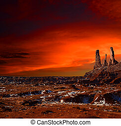 valle, nación, arizona, ocaso, monumento, navajo