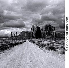 valle, nuvoloso, cieli, monumento
