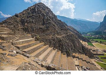 valle, ollantaytambo, rovine, sacro, perù