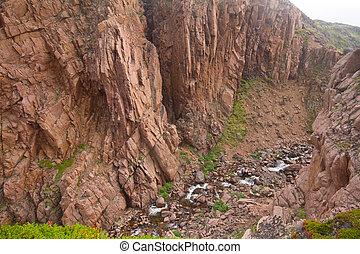 valle río, deeply, entre, rocas, escandinavia