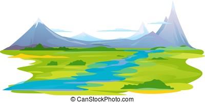 valle río, en, montañas