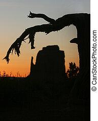 valle, silhouette, paesaggio, monumento