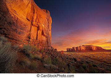 valle, spettacolare, alba, monumento