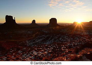 valle, stati uniti, nazione, arizona, monumento, navajo, alba