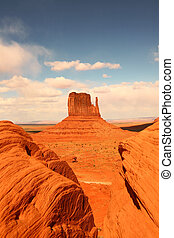 valle, vista, verticale, monumento