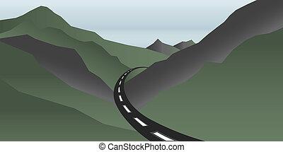 vallei, bergen, met, straat, logo