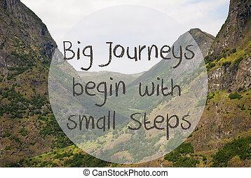 vallei, en, berg, noorwegen, noteren, groot, reizen, beginnen, kleine, stappen