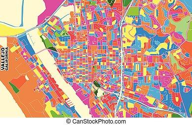 Vallejo, California, USA, colorful vector map