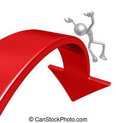 vallen van, neerwaarts, markt, richtingwijzer