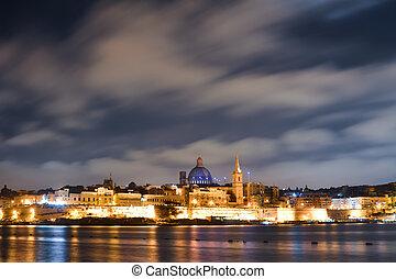 Valletta, 夜, マルタ, 光景