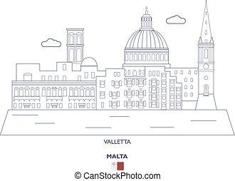 Valletta City Skyline, Malta - Valletta Linear City Skyline,...