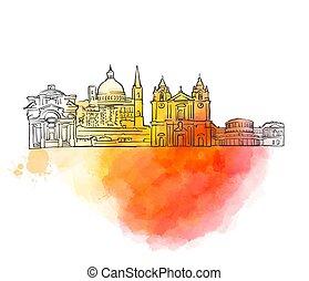 Valletta Colorful Landmark Banner