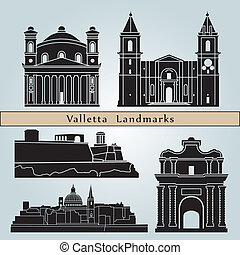 Valletta landmarks and monuments isolated on blue background...