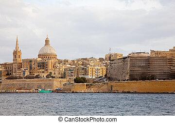 Valletta. Malta - View of Valletta from Manoel island. Malta