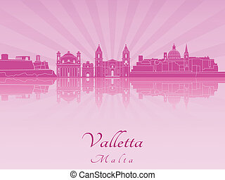 Valletta skyline in purple radiant orchid in editable vector...