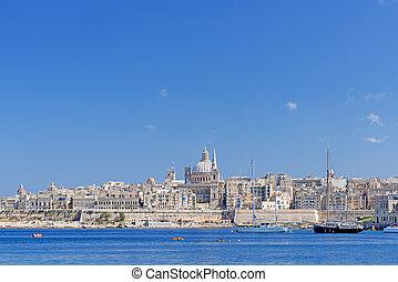 Valletta skyline with the Saint Pauls Cathedral Malta -...