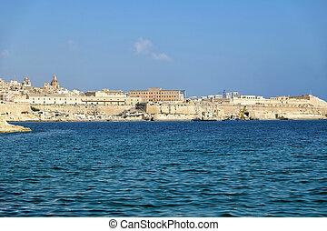 Valletta waterfront as seen from Kalkara peninsula over the Grand harbor. Malta