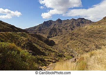 Valley and Moutain at Canary Island - Vulcan moutain and...